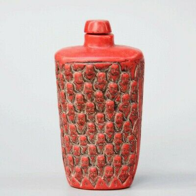 Collect Chian Old Red Coral Hand-Carved Countless Buddha Head Rare Snuff Bottles