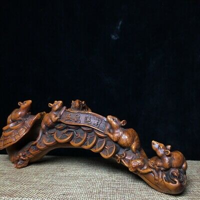 Collect Old Boxwood Handwor Carve Mouse & Ru Yi Bring Auspicious Wealth Statue