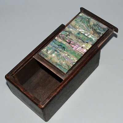 Collectable Chinese Old Boxwood Inlay Color Shell Noble Unique Royal Storage Box