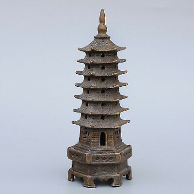 Collect China Old Copper Handwork Carve Delicate Tower Bring Auspicious Statue