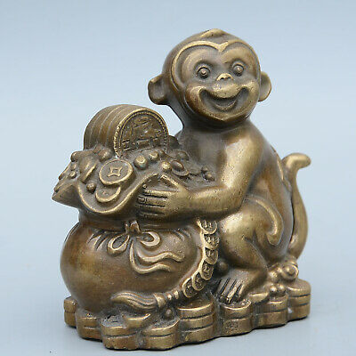 Collectable China Old Copper Hand-Carved Lovely Monkey & Wealth Delicate Statue