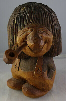 Vintage Signed Norway Wooden Troll Gnome With Pipe