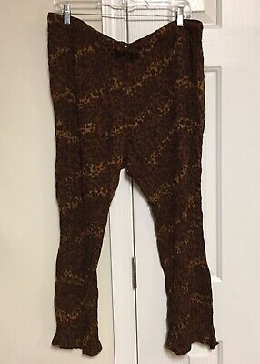 Islander Swimsuit Cover-Up Crop Pants Rayon Crinkle Leopard Animal Beach 1X Plus