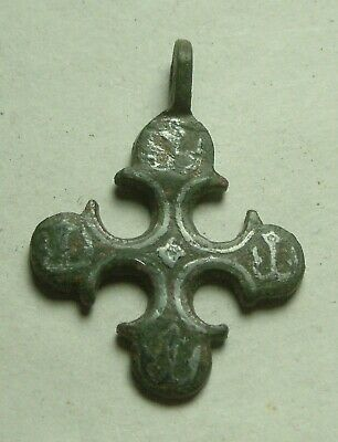 Genuine Ancient Roman Byzantine bronze artifact Christian cross pendant patina