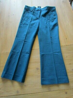J. Crew Women's Size 6 Kick Crop Stretch Cotton Teddie Pant in Teal Blue E8366