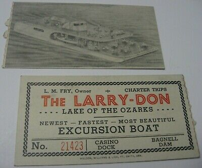 Vintage Excursion Boat Ticket Lake of the Ozarks The Larry-Don Bagnell Dam Fry