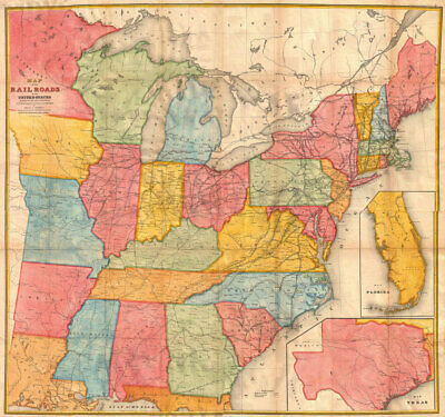 """24""""x24"""" USA Andrews Railroad Map of the United States Geographicus -1852"""