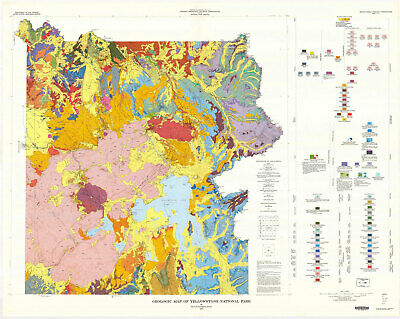 "24""x30"" Topographical and Physical Maps of USA Yellowstone national park"