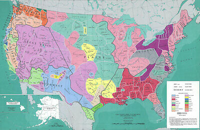 "24""x36""  Indian Tribes, Political Topographical and Physical Maps of USA"