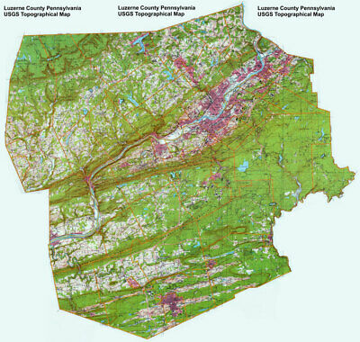 "24""x25"" Topographical map Hunlock Creek in Luzerne County, Pennsylvania"
