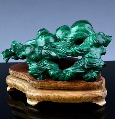 Fine Old Chinese Malachite Stone Boys Carrying Peaches Silver Inlaid Stand