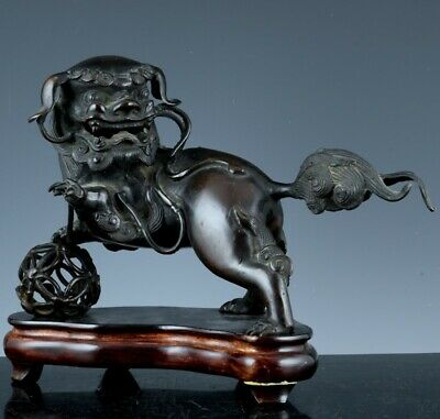 Great Antique Chinese Or Japanese Bronze Buddha Fu Lion Beast Censer Vase Signed