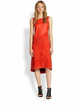 Rag & Bone Womens sz 6 Gracie Royal Red Leather Suede Holiday Career Dress