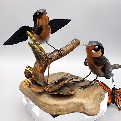 Hindley Finches Copper & Stone Bird Sculpture Signed