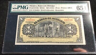 PMG Mexico Banco De Hidalgo (1914) Peso Pick-S304b M368r Remainder MS 65 EPQ