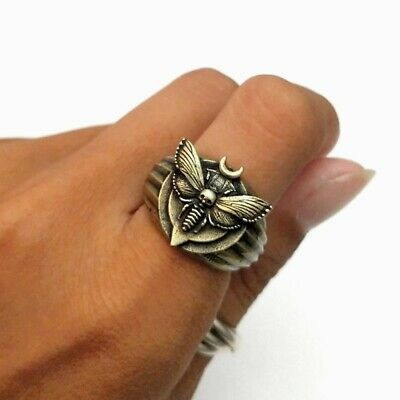 New Ring Moth Moon Boho Indie Witchy Silence Of The Lambs death head hawk bronze