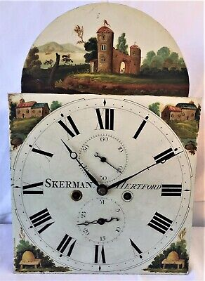 Nice 8 Day English Grandfather/Longcase Clock Movement & Hand Painted Dial