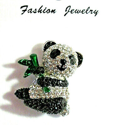 """Panda bear Brooch pin 1""""x 1.5"""" GIFT silver tone gift idea #3 mothers day party"""