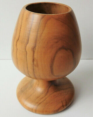 """Wooden goblet cup decorative turned wood ornament 5"""" tall woodenware treen pot"""