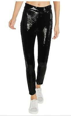 New Frame Womens Sequined Ankle Skinny Side Zip Pants Black Sz L Org $575