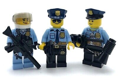 Lego 3 New Police Minifigures Police Officer Figures Swat Team Town City Figs