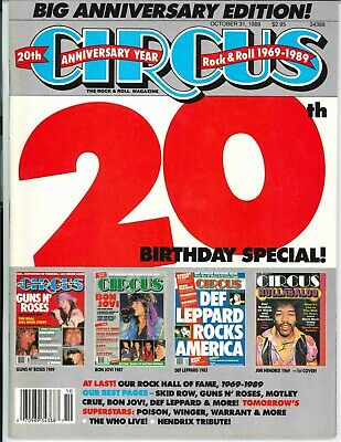 Circus Magazine October 31 1989 20th Birthday Special Skid Row Guns N Roses WHO