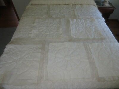 """8 Cotton OFF-WHITE Padded, Backed & QUILTED PILLOW TOPS - 18"""" x 18"""""""
