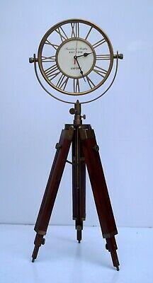 Brass antique floor table clock with wooden tripod stand collectible decor item