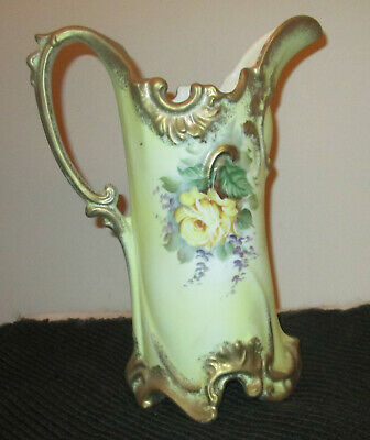 """Antique Porcelain Pitcher Handled Hand Painted Flowers Gold Trim 11 3/4"""" Tall"""