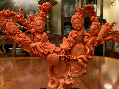 A Stunning Large Chinese Coral Carved Figural Group with Rosewood Stand.