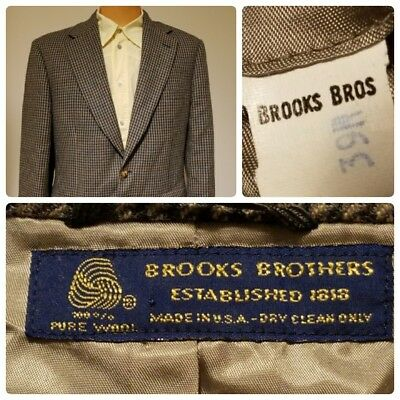 Brooks Brothers Mens Wool Blazer Sport Coat Lined 39R Brown Houndstooth USA