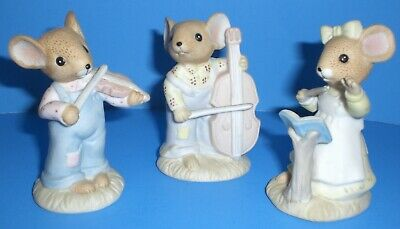 Set of 3 Country Mice Playing Musical Instruments from Enesco Vintage 1983