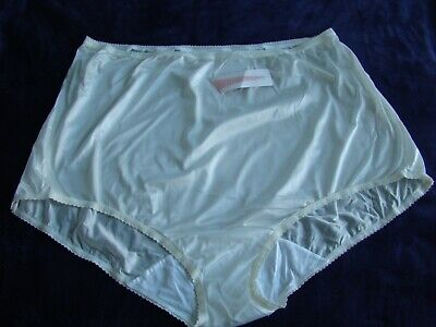 VINTAGE SHADOWLINE PANTY BRIEF IVORY SHEER NYLON  size 11 4 XL