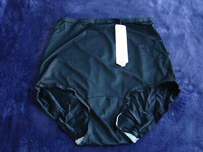 VINTAGE SHADOWLINE PANTY BRIEF Black SHEER NYLON  size 6 Medium