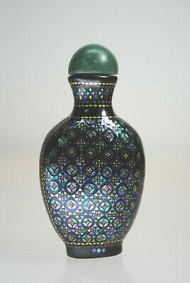 Gorgeous Antique 19C. Chinese Laque Burgaute Snuff Bottle Mop Inlay Jade Top