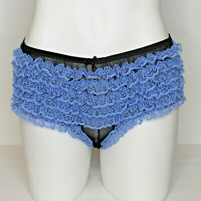 VTG Delicates Blue Lace Black Nylon Mesh Ruffle Boyshorts Bikini Panties sz M