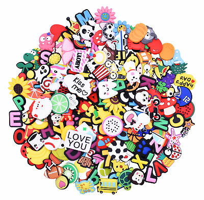 150pcs Colorful Letters Smile Face Fruits  Sandals Charms Accessory for Gifts
