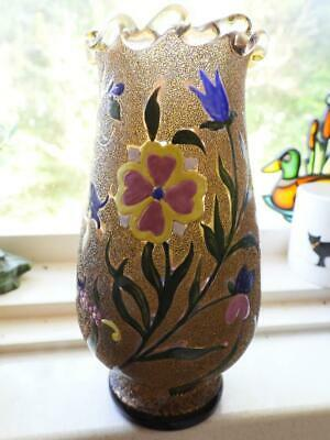 Antique Bohemian Cased Gold Vase with Applied Enamel Flowers - Stunning