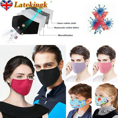 Adult Kids Face Mouth Cover Haze Protection Breathable Respirator Washable Lot