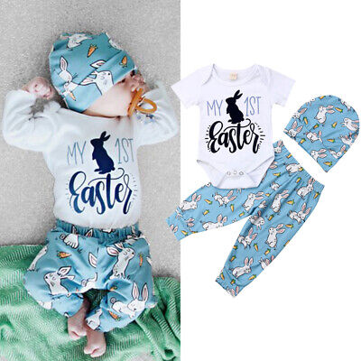 My 1st Easter Newborn Baby Boys Girls Romper+Long Pants+Hat 3PCS Outfits Clothes