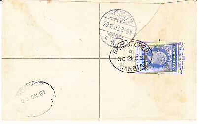 Gambia Edward Viiith  Registered Envelope Size F. Used To Germany 1903