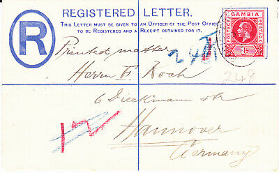 Gambia George Vth  Registered Envelope Size F  Used To Germany 1913