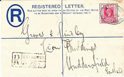 Gambia George Vth  Registered Envelope Size G  Used To Uk 1920