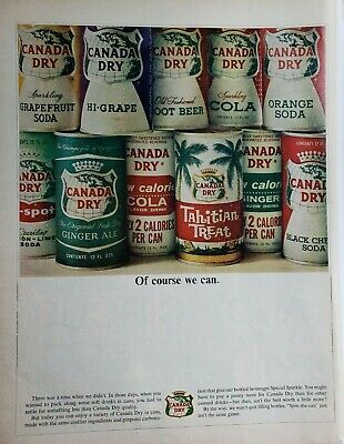 Lot of 3 Vintage 1965 Canada Dry Canned Soda Ads