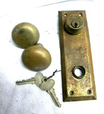 """Vintage """"EARLE"""" Brass Door Knob with Plate and Keys"""
