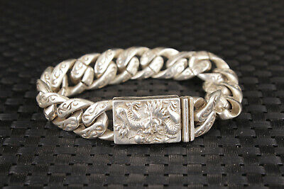 fashion Chinese old tibet silver miao hand carved dragon cool bracelet gift