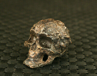 chinese old bronze hand cast skull statue collectable home decoration gift
