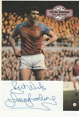 Trevor Brooking West Ham Utd 1967-84 Original Autograph Card With Annual Picture