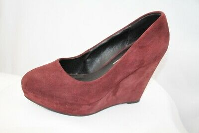 Office Burgundy Red Suede Leather Platform Wedge Court Shoes Size 4