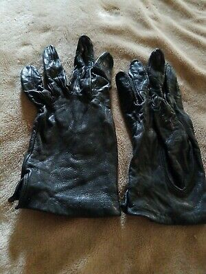 Vintage Women's Aris Fine Gloves Soft Black Leather Nylon Lined SZ 7 Pre-Owned